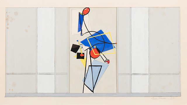Lee Krasner, <em>Mural Study for Studio A</em> Radio Station NYC, 1941.     <span>Gouache on paper, 19 1/2 x 29 in. Courtesy Paul Kasmin Gallery, © The Pollock-Krasner Foundation / Artists Rights Society (ARS), New York.</span>