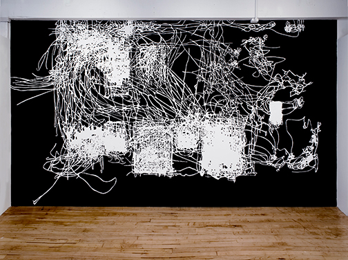 Morgan O'Hara,<em> Painter at Work,</em> 2011 <span>site specific wall drawing with flat black acrylic pain on white walls, 9 x 16 feet </span>