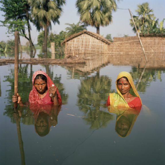 Gideon Mendel, <em> Chinita and Samundri Davi. Salempur Village near Muzaffarpur, Bihar, India, August 2007.</em><span>Lightjet C type photographic print on Fuji Crystal Archive Paper, 100 x 100 cm</span>