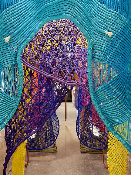 SculptureCenter In Practice Exhibition Program.  Jesse Harrod, <em> Taught tight tender sway, </em> 2017, detail, <em> In Practice: Material Deviance, </em> SculptureCenter, New York, 2017. <span> Paracord, rope, cock rings, acrylic. Dimensions variable. </span> <span> Courtesy the artist.  Photo: Kyle Knodell</span>