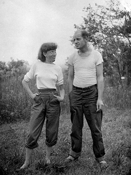 Lee Krasner and Jackson Pollock on their Springs property, ca. 1946. <span> Photograph by Ronald J. Stein. © Pollock-Krasner House and Study Center, East Hampton, NY. Gift of the Estate of Ronald J. Stein. </span>