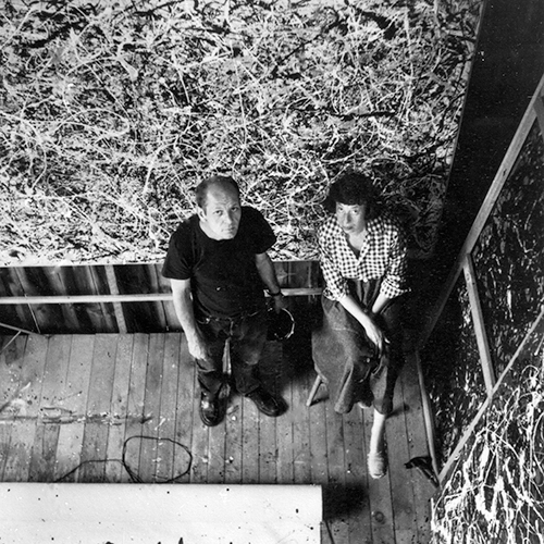 Jackson Pollock and Lee Krasner in Pollock's studio, East Hampton, 1950.  <span>Photograph by Rudolph Burckhardt. ©Estate of Rudolph Burckhardt, courtesy Pollock-Krasner House and Study Center, East Hampton, NY.</span>