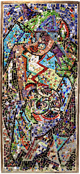 Jackson Pollock <em>untitled</em>, ca. 1938-41.  <span>Glass mosaic in cement on wooden support, 54 x 24 in. Courtesy Washburn Gallery 