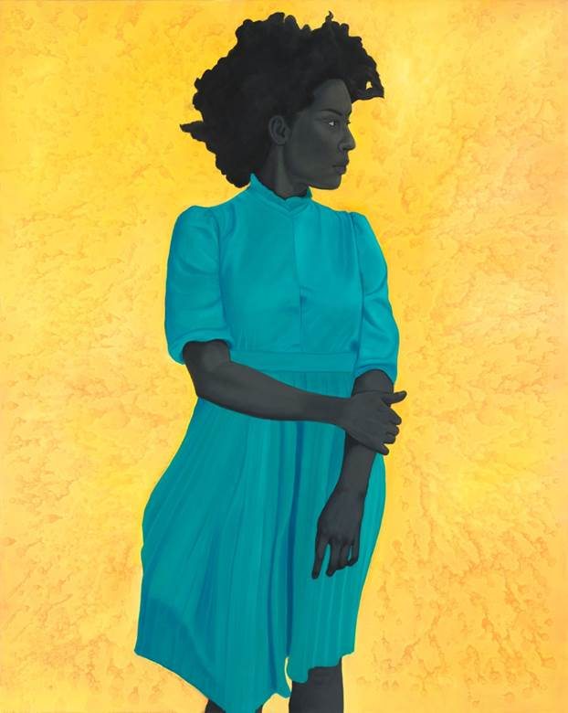 Amy Sherald,  <em> Saint Woman, </em> 2015 <span> oil on canvas, 54 x 43 inches </span>
